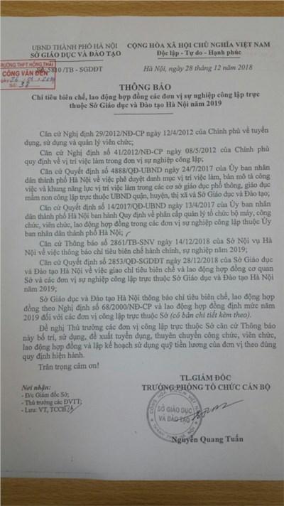Thông báo chỉ tiêu kế hoạch biên chế, hợp đồng lao động năm 2019 của Trường THPT Hồng Thái