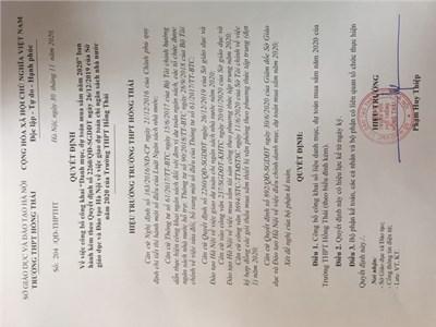 Quyết định công khai danh mục, dự toán mua sắm năm 2020 của trưởng thpt hồng thái