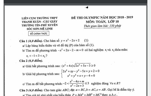 Đề và đáp án các môn thi HSG Olympic Liên Cụm năm 2019