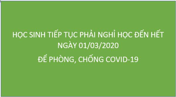 Học sinh Hà Nội tiếp tục phải nghỉ học đến hết ngày 01/03/2020 để phòng, chống Covid-19