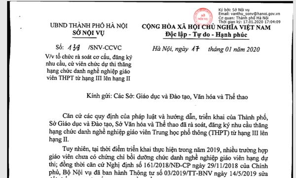 Văn bản hướng dẫn đăng ký thi nâng hạng chức danh nghề nghiệp giáo viên THPT (hạng III lên hạng II) của Sở Nội Vụ
