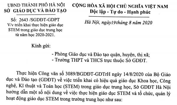 Công văn 2643/SGDĐT-GDPT về việc triển khai thực hiện giáo dục STEM trong giáo dục trung học từ năm học 2020-2021