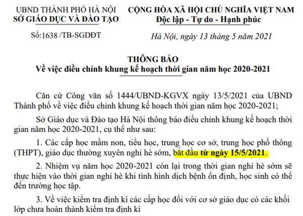 Học sinh Hà Nội được nghỉ hè từ ngày 15/05/2021 do Sở điều chỉnh khung thời gian năm học 2020-2021